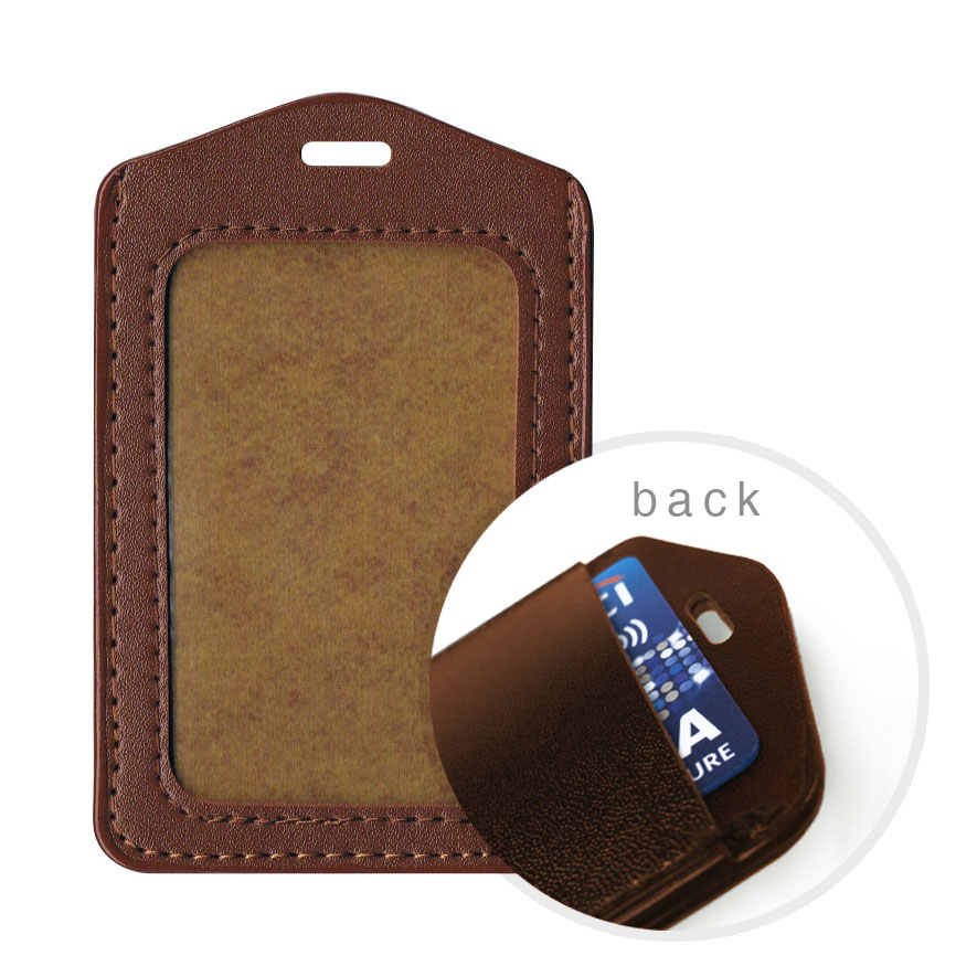 PU Leather Dual Card Holder (Small) - Brown