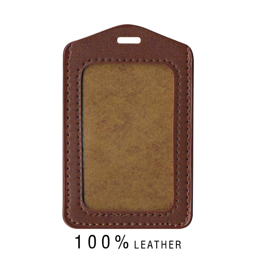 Real Leather Card Holder (Portrait) - Brown