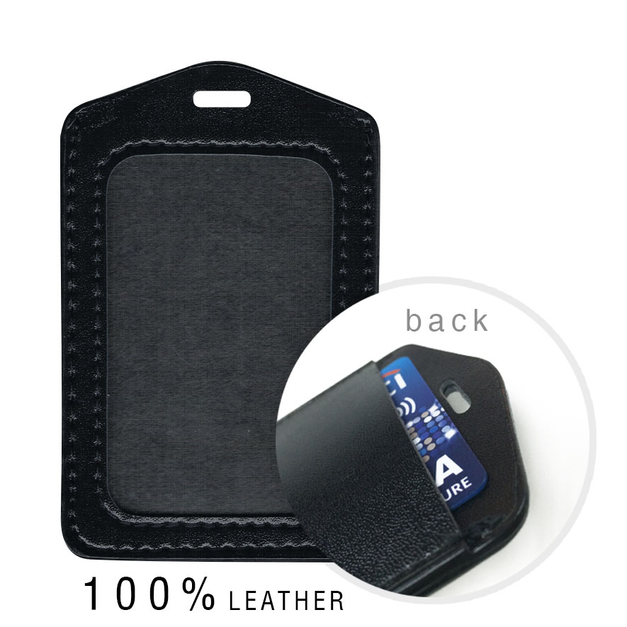 Real Leather Dual Card Holder (Portrait) - Black