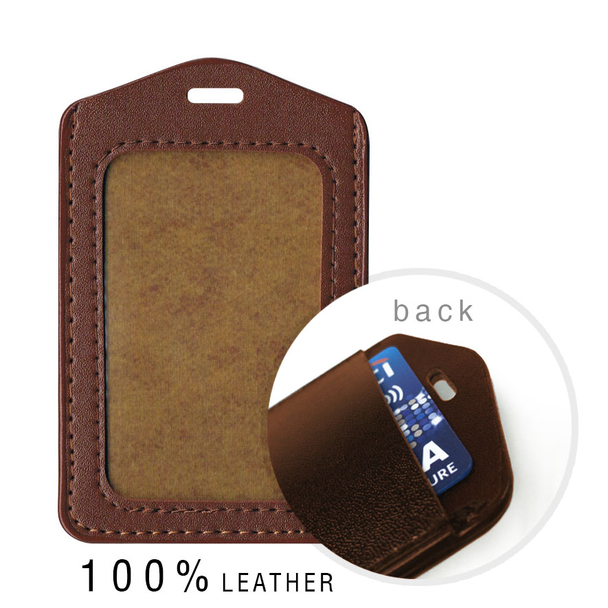 Real Leather Dual Card Holder (Portrait) - Brown
